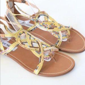 "Steve Madden ""Sysco"" Gold Sandals Size 6.5"